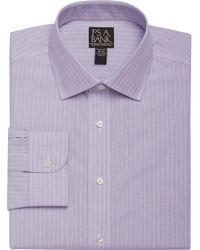 Jos. A. Bank - Purple Traveler Collection Slim Fit Spread Collar Fine Stripe Dress Shirt for Men - Lyst