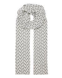 JOSEPH | White Bird Print Crepe De Chine Skinny Scarf | Lyst