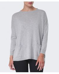 Cocoa Cashmere - Gray Cashmere Pocket Sweater - Lyst