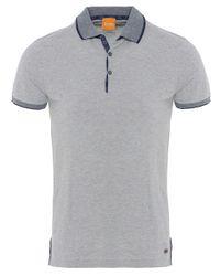 BOSS Orange | Gray Pejo Contrast Polo Shirt for Men | Lyst