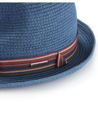 Stetson   Blue Straw Monett Trilby Hat for Men   Lyst