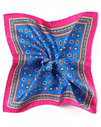 Ascot Accessories - Blue Silk Paisley Handkerchief - Lyst