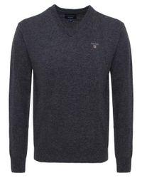 Gant | Gray V-neck Lambswool Jumper for Men | Lyst