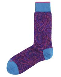 Duchamp - Purple Paisley Verdure Socks for Men - Lyst