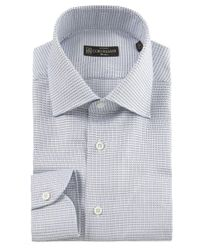 Corneliani | Blue Square Print Shirt for Men | Lyst