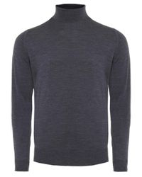 John Smedley | Gray Standard Fit Merino Wool Roll Neck Cherwell Jumper for Men | Lyst