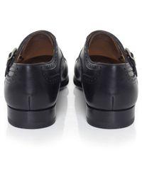 Magnanni Shoes - Black Double Monk Strap Leather Shoes for Men - Lyst