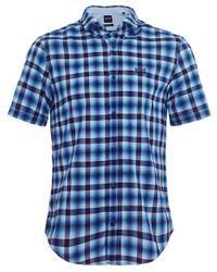BOSS - Blue Regular Fit Short Sleeve Barn_r Check Shirt for Men - Lyst