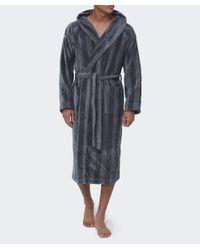 Gant - Black Hooded Stripe Bathrobe for Men - Lyst