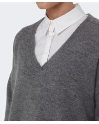 Gestuz - Gray Gaby Wool V-neck Jumper - Lyst