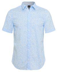 BOSS - Blue Slim Fit Short Sleeve Brodi_s Floral Shirt for Men - Lyst