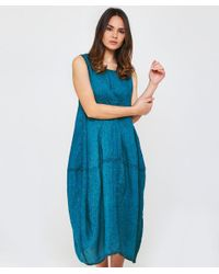 Grizas - Blue Washed Linen Midi Dress - Lyst