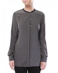 Vince - Black Colour Block Silk Shirt - Lyst