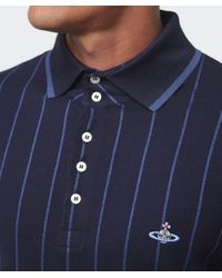 Vivienne Westwood   Blue Contrast Stripe Polo Shirt for Men   Lyst
