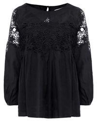 Velvet By Graham & Spencer | Black Ambrosine Lace Blouse | Lyst