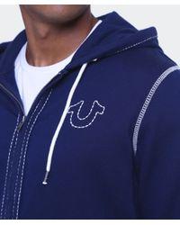 True Religion - Blue Big T Stitch Hoodie for Men - Lyst