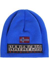 Napapijri | Blue Fulir Beanie Hat for Men | Lyst