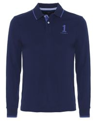 Hackett | Blue Slim Fit Long Sleeve Numbered Polo Shirt for Men | Lyst