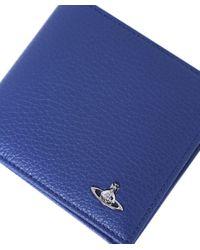 Vivienne Westwood Blue Leather Milano Wallet for men