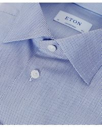 Eton of Sweden | Blue Contemporary Fit Micro Pattern Shirt for Men | Lyst