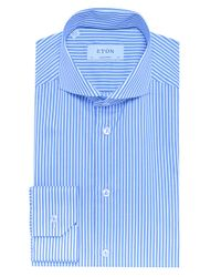 Eton of Sweden - Blue Contemporary Fit Striped Shirt for Men - Lyst