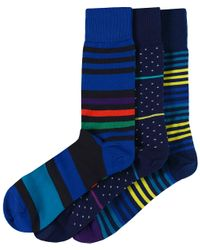 Paul Smith | Blue Three Pack Of Patterned Socks for Men | Lyst