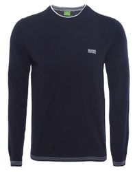 BOSS Green | Blue Crew Neck Rime Jumper for Men | Lyst