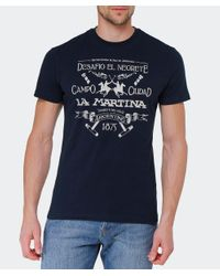 La Martina - Blue Logo T-shirt for Men - Lyst