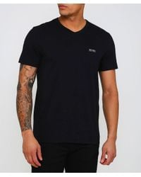 BOSS - Black Regular Fit V-neck Teevn T-shirt for Men - Lyst