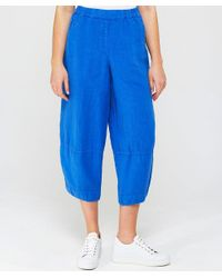 Grizas - Blue Linen Cropped Trousers - Lyst