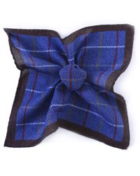 Jules B - Blue Wool Check Pocket Square for Men - Lyst