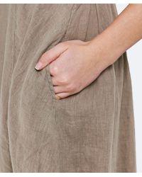 Grizas - Natural Linen High Neck Dress - Lyst
