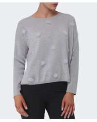 Cocoa Cashmere - Gray Pom Pom Rib Sleeve Sweater - Lyst