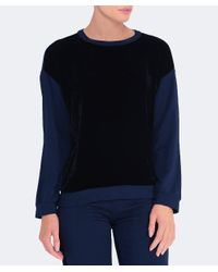 Velvet By Graham & Spencer - Black Carey Velvet Front Sweatshirt - Lyst