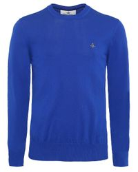 Vivienne Westwood - Blue Knitted Cotton Crew Neck Jumper for Men - Lyst