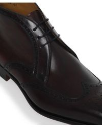 Magnanni Shoes - Red Brogue Leather Boots for Men - Lyst