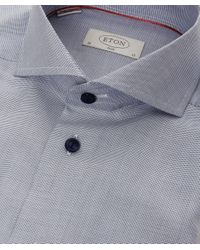 Eton of Sweden | Blue Slim Fit Contrast Button Shirt for Men | Lyst