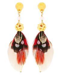 Gas Bijoux - Pink Sao Feather Drop Earrings - Lyst