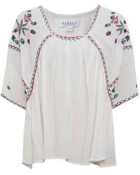Velvet By Graham & Spencer Multicolor Adele Embroidered Cheese Cloth Top