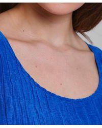 Grizas - Blue Silk Crinkle Effect Midi Dress - Lyst