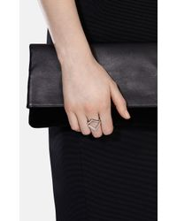 Karen Millen - Metallic The Angle Crystal Ring - Km - Lyst