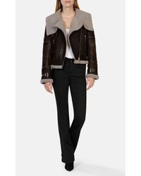 Karen Millen | Black Shearling Aviator Jacket - Brown | Lyst