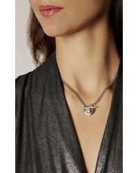 Karen Millen | Metallic Quantum Crystal T-bar Necklace - Silver Colour | Lyst