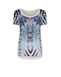 Karen Millen   Blue Graphic Snakeskin T-shirt   Lyst