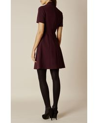 Karen Millen | Blue Mandarin-collar Dress - Dark Red | Lyst