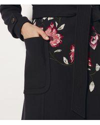 Karen Millen - Blue Embroidered Trench Coat - Lyst