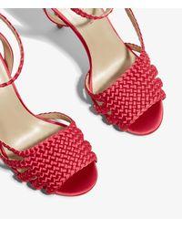 Karen Millen - Pink Woven Heeled Sandals - Lyst