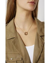 Karen Millen - Metallic Crystal Ribbon Pendant - Gold Colour - Lyst