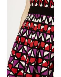 Karen Millen - Geometric Knitted A-line Dress - Red/multi - Lyst