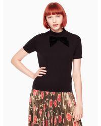 Kate Spade - Black Velvet Bow Sweater - Lyst